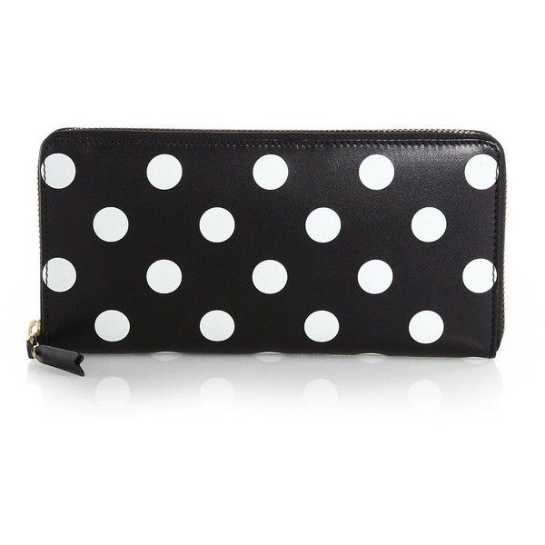 Comme des Garcons Polka Dot Zip-Around Wallet ($385) ❤ liked on Polyvore featuring bags, wallets, accessories, clutches, purses, apparel & accessories, black, black leather wallet, black zip around wallet and black leather bag