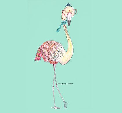 Aves emblemáticas chilenas: Flamenco Isabel Cerda www.isabelcerda.com