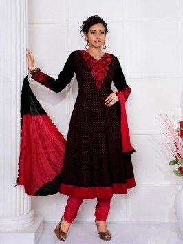 Black Cotton Anarkali Suit With Resham Work