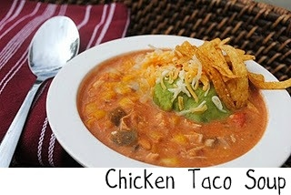 Chicken Taco Soup...tried it...is delish even w/o sour cream and cream cheese.