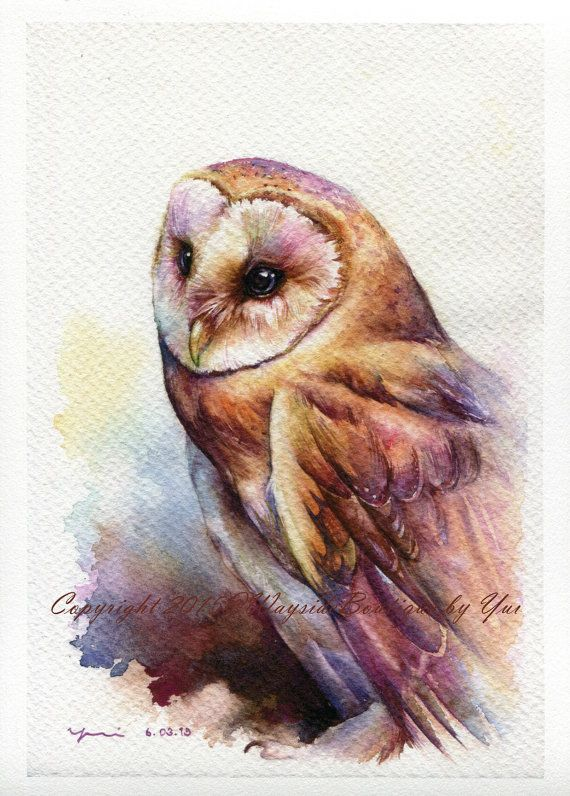 "PRINT – The Owl Watercolor painting 7.5 x 11""  The artwork print reproduction of my Original Watercolor painting.  Printed area: 7.5 x 11 Paper size: 8.5 x 12  Archival print printed with Epson Stylus Pro 9900 on Hahnemuhle Fine Art paper. The print looks very much like an original watercolor painting.  Signed and year behind print - by me, the artist  Your print will be pack with care in a plastic cover and hard paper for protection during shipping. Please be aware that the color you see on…"
