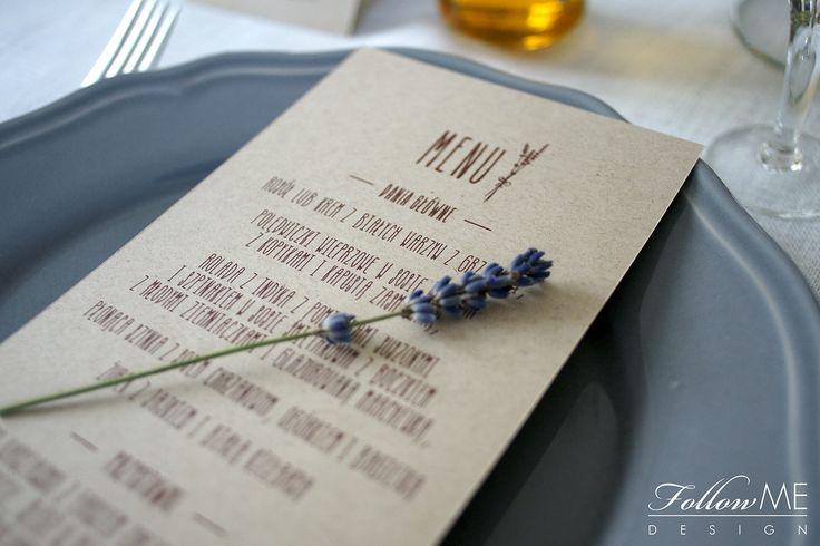 Karty menu z lawendą / Rustykalne Dekoracje ślubne od FollowMe DESIGN / Menu card with Lavender / Rustic Wedding Decorations & Details by FollowMe DESIGN