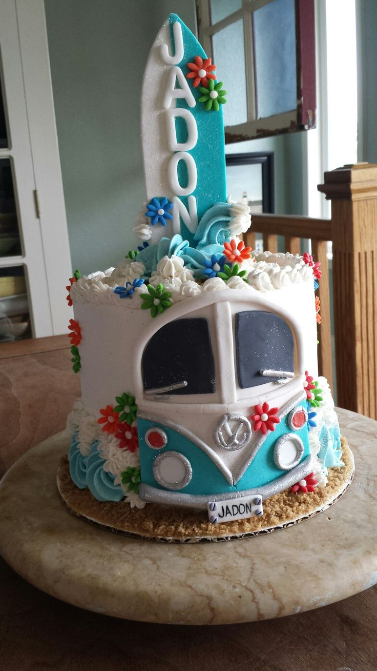 Wow! ADORABLE VW Bus/Surfing themed cake, done almost entirely in buttercream.