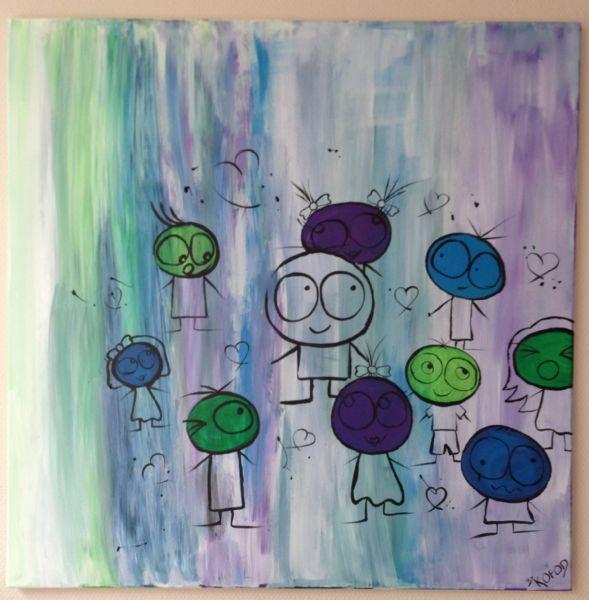 Digitalt billede af maleriet Blå, grøn, lilla. Primær farve: Blå. Sekundær farve: Grøn.