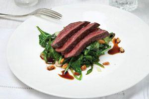 Hertenbiefstuk met spinazie en balsamico - foodies