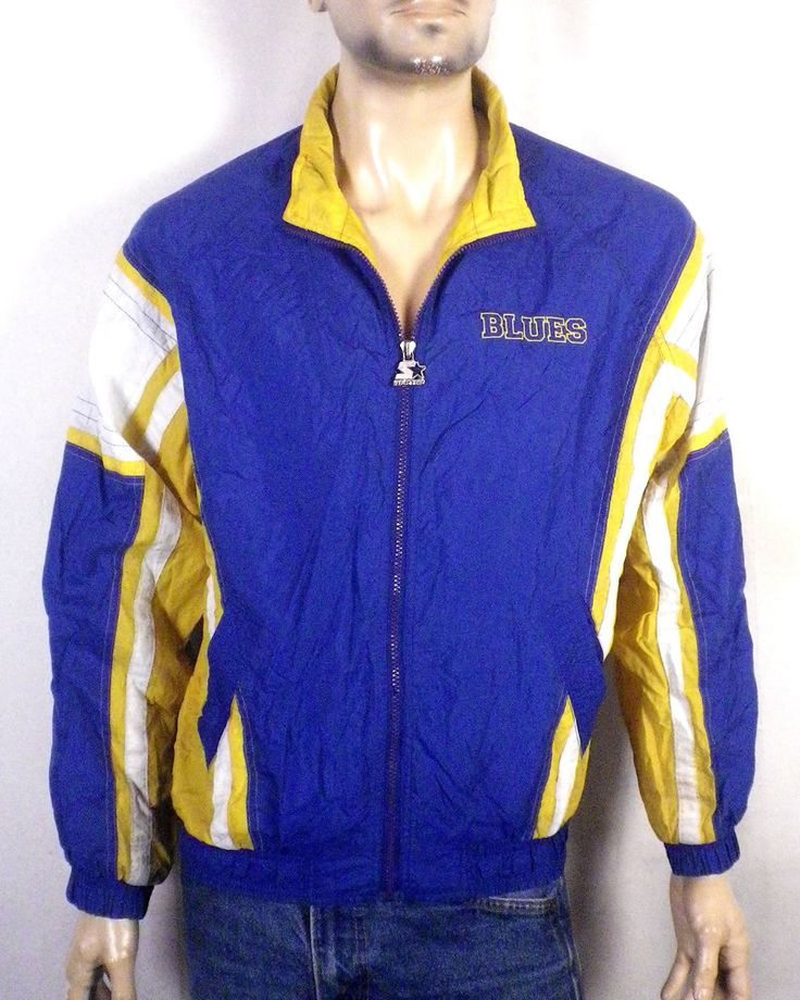 vtg 90s Starter St. Louis Blues NHL Zip Up Windbreaker Jacket hull joseph YXL
