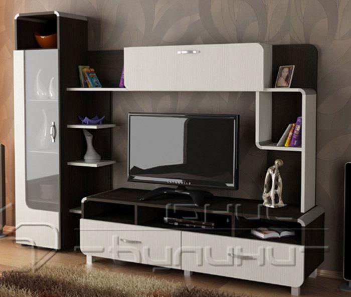 """★  Представяме Ви  ➤  Стилна секция """"Азалия"""" в цветовете венге луизиана и бяло фрезе - 18 мм.  Секция """"Азалия""""  е подходяща както за хол така и за дневна - разполага с място за ТВ,  висок шкаф с витрина, открити рафтове и обемни чекмеджета. За допълнителна информация кликнете на снимката или линка по-долу."""