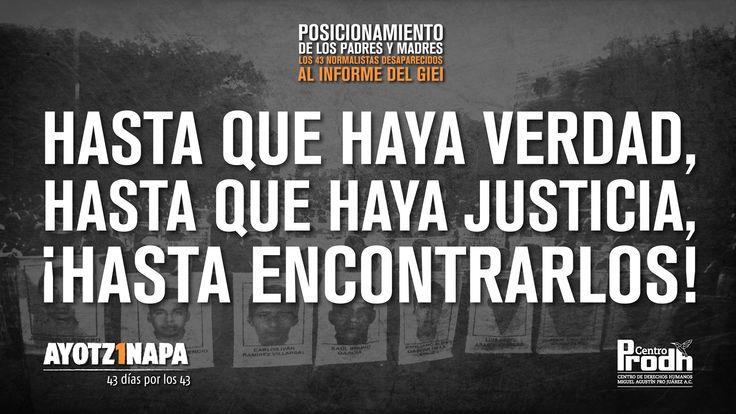 Postura de familiares de desaparecidos de Ayotzinapa ante informe del GIEI