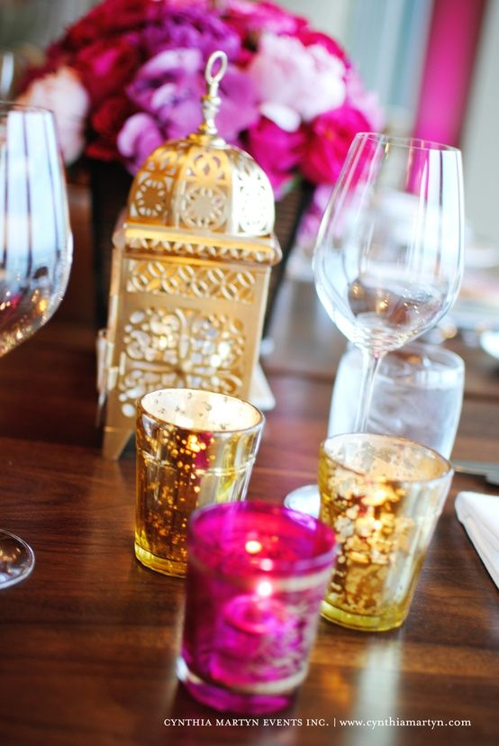 hot pink and gold table setting - Google Search