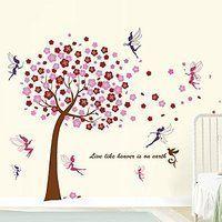 walplus wandaufkleber rosa baum mauerdekor kinder wandsticker aufkleber dekoration baum fee kinderzimmer schlafzimmer baby kids - Dekoration Baum