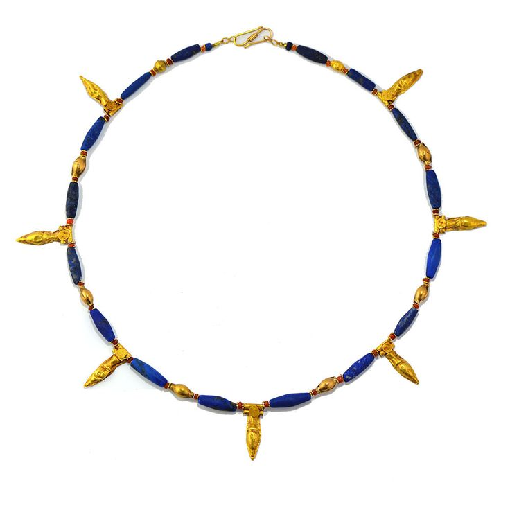 * A Mesopotamian Gold, Carnelian, Lapis Lazuli Bead Necklace, ca. 2nd | Sands of Time Ancient Art