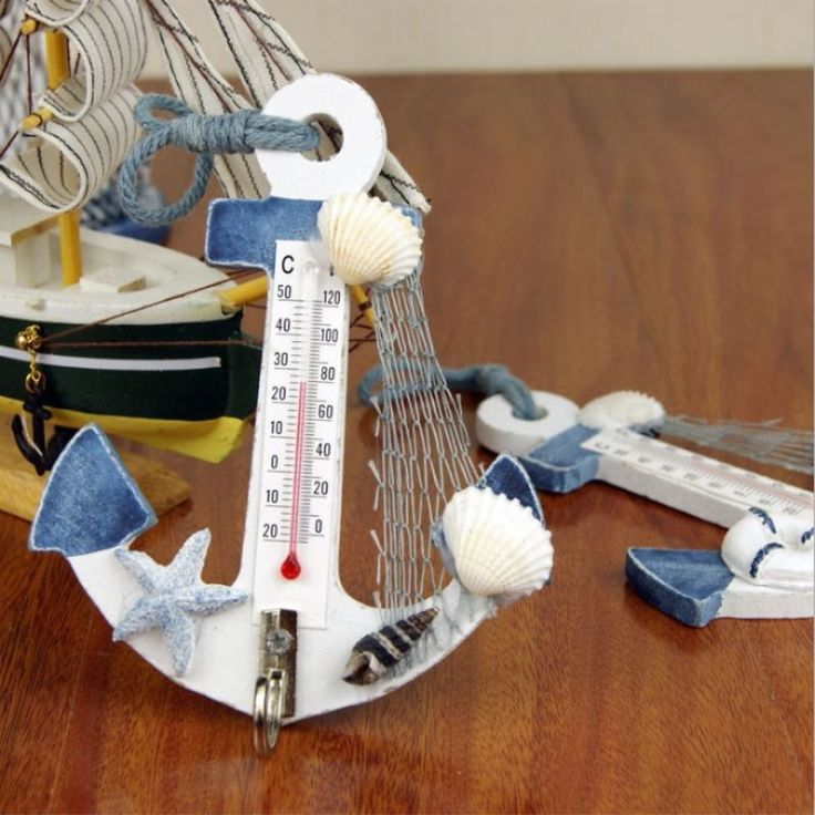 1.32$  Buy here - Mediterranean Style Wood Anchor Thermometer Nautical Decor Hanging Crafts Art Wall Hanger Hook Vintage Decoration Gift   #aliexpressideas
