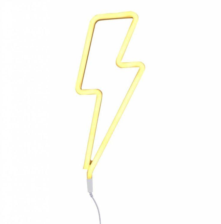A Little Lovely Company Neon stijl lamp: Bliksem - geel