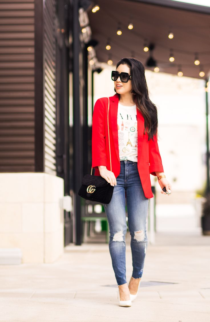 cute & little | dallas petite fashion blogger | express red blazer, graphic tee, embroidered jeans, white pumps | casual work outfit