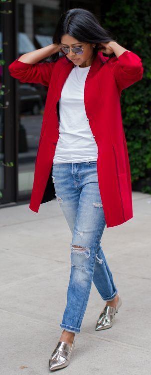 Red Coat On Basics Fall Street Style Inspo #Walk In Wanderland