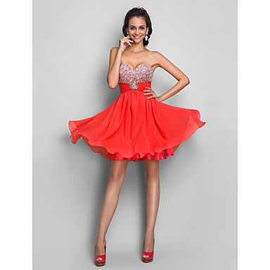 Sweet 16/Cocktail Party/Homecoming/Prom Dress A-line/Princess Strapless/Sweetheart Short/Mini Chiffon Dress – GBP £ 75.89