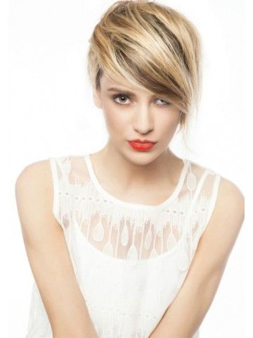 Short Blonde Haircolor For Summer With Highlights Wig