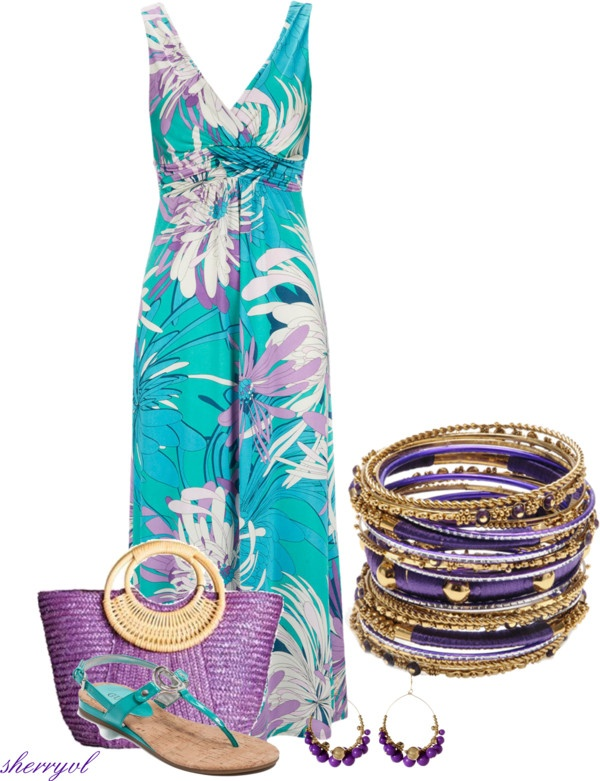"""Amrita Singh Bangles And A Maxi Dress"" by sherryvl on Polyvore"