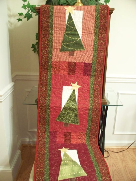 Items similar to Christmas Patchwork Quilted Table Runner on Etsy