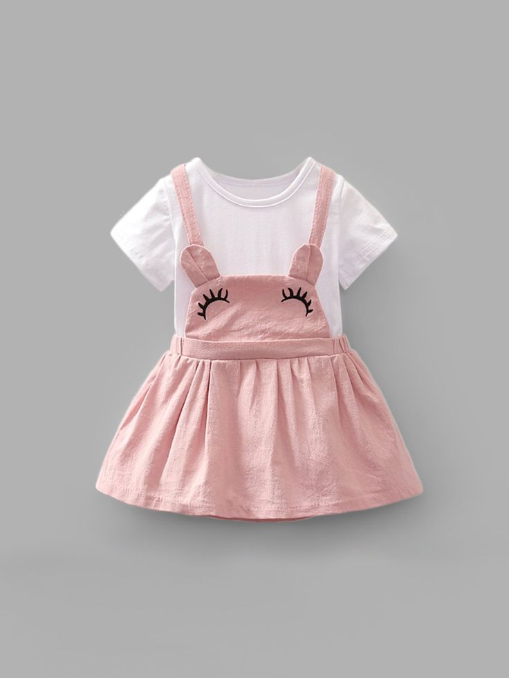 Girls Embroidery Detail Criss Cross Back Combo Dress