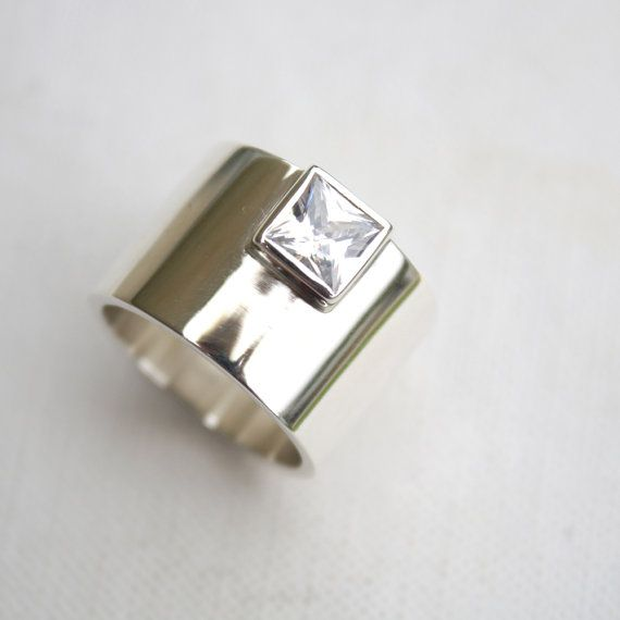 chunky silver ring edgy statement ring square stone ring bold ring unique engagement ring on Etsy, $127.00