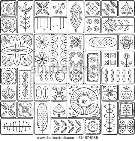 Scandinavian design tiles with floral abstractions. Patterns and ornaments with Scandinavian motifs within the rectangular frames. Linear style illustration. Monochrome seamless background.