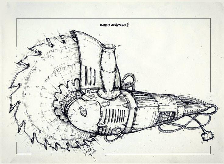 Saw  Author Aleksey Lubimov #алексейлюбимовбиомеханика #алексейлюбимов #стимпанк #дизельпанк #биомеханика #marchofrobots #steampunk #dieselpunk #alekseylubimov_art #biomechanical #lineart