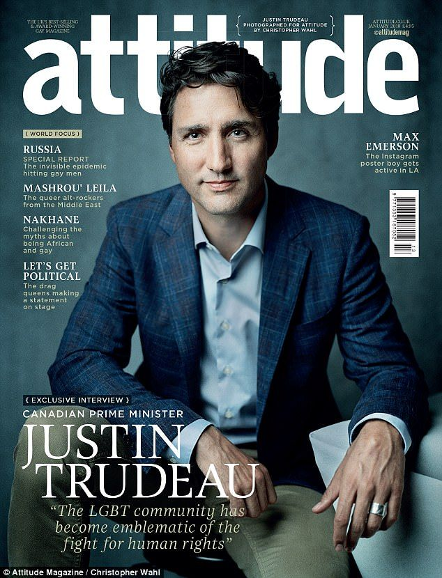 Canadian Prime Minister Justin Trudeau is the cover star for the January issue of Attitude, Europe's biggest gay lifestyle magazine