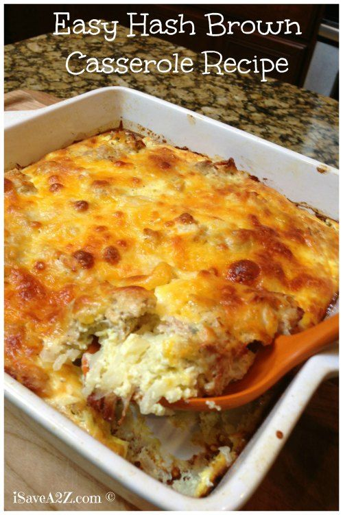 Easy Hash Brown Casserole ...   •3 tablespoons butter  •1 small onion  •4 cups frozen shredded hash browns  •1 pound of cooked sausage (any flavor will do)  •2¼ cups milk  •8 large eggs  •1 teaspoon of salt  •¼ teaspoon of pepper  •2 tablespoons of dijon or regular mustard  •4 cups cubed french bread  •2 cups grated cheddar  •2 cups Parmesan cheese