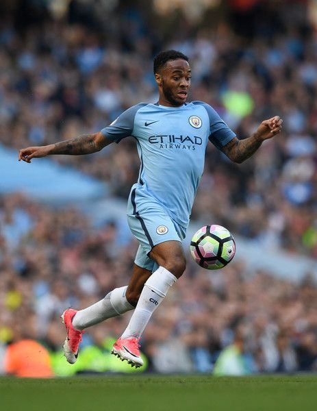 Raheem Sterling of City in action during the Premier League match between Manchester City and Hull City at Etihad Stadium on April 8, 2017 in Manchester, England.