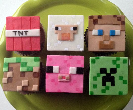 Minecraft Inspired Cupcake Toppers - For all your cake decorating supplies, please visit craftcompany.co.uk