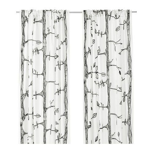 Ikea bird curtains/ perfect for pillows also, see fabric stapled in a frame unter craft cloth pin