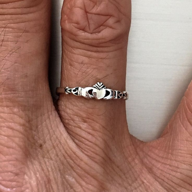 Sterling Silver Tiny Claddagh Ring, Loyalty Ring