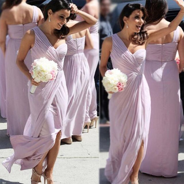 Barato Un Hombro Luz Púrpura/Lila Vestidos de dama de Honor Largo Plisado Tulle Vestido de Dama de honor Vestidos de Hendidura Boda B102