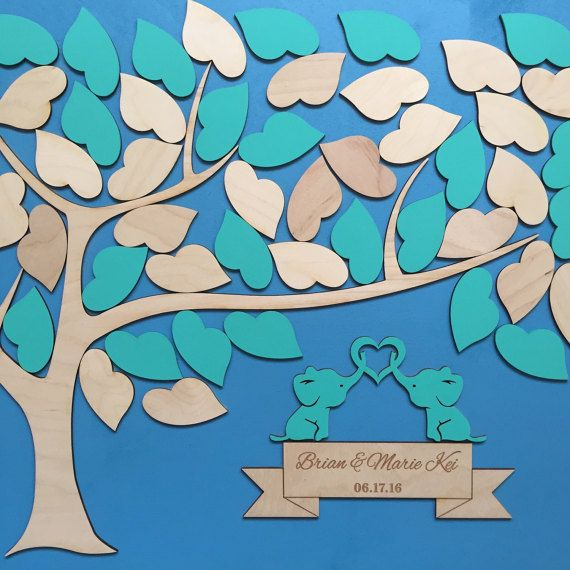 Guestbook Alternative Tree Wooden Wedding Guest Book Unique