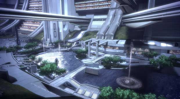 Mass Effect 3 Citadel - What's not to love from modernistic worlds, to a green environment