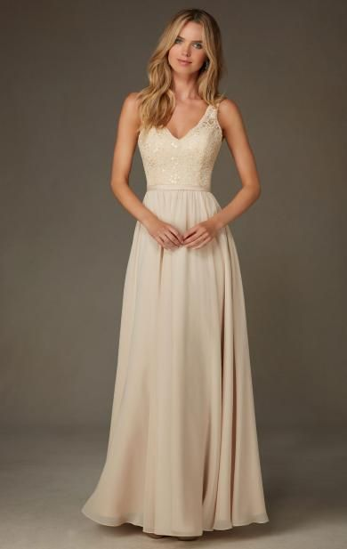 Unique Champagne Long Bridesmaid Dress BNNCL0001