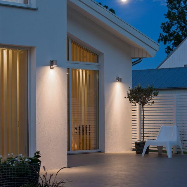 LED Wandleuchte Premium mit Bewegungsmelder, Außenleuchte, 1-Flammig, Edelstahl, GU10-230V, (Form:F3)