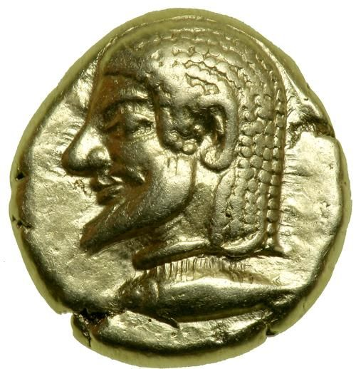 Mysia, Kyzikos. Electrum Hekte (2.67g), ca. 550-500 BC. EF Bearded male head (Herakles?) left on tunny left. Quadripartite incuse square. Cf. Von Fritze I 66 (stater); SNG BN -; BMFA -; Hurter & Liewald -. Rosen 447 ( ). Extremely rare. One of the most charming types of the late archaic Kyzikene coinage. Estimated Value $5,000 - 6,000 #Coins #Ancient #Silver #MADonC