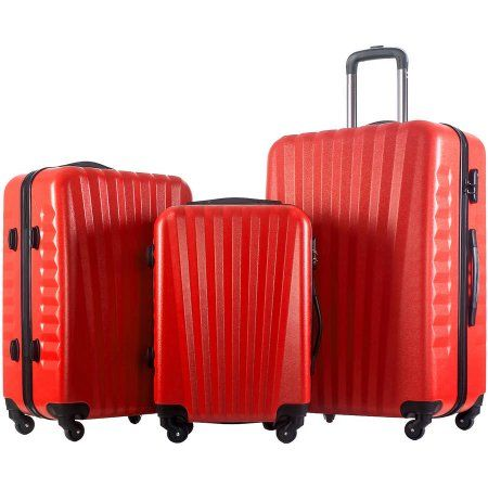 Merax Luggage 3-Piece Set ABS Material Suitcase, Red
