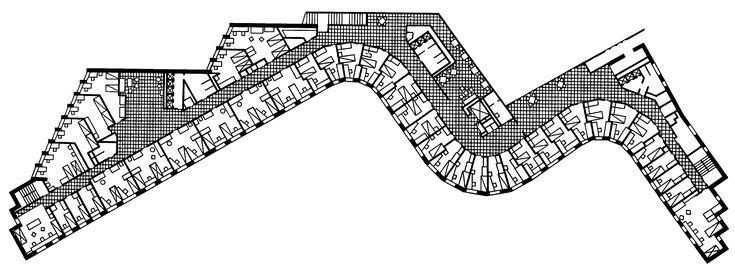 36. Кеймбридж (Массачусетс). Студенческое общежитие технологического института, 1948 г. Арх. А. Аалто. Фрагмент фасада, план