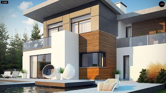 Проект дома Zx182 — стильный проект двухэтажного дома с 4 спальнями и гаражом на две машины с плоской крышей.   В проекте дома предусмотрены разные небольшие технические помещения и гардеробные комнаты. В этом проекте кухня, гостиная и столовая объединены в одну большую и светлую комнату, есть выход на террасу, где можно установить бассейн. На первом этаже расположилась небольшая гостевая спальня, на втором этаже 3 спальни, 3 гардеробные комнаты и 2 ванные.