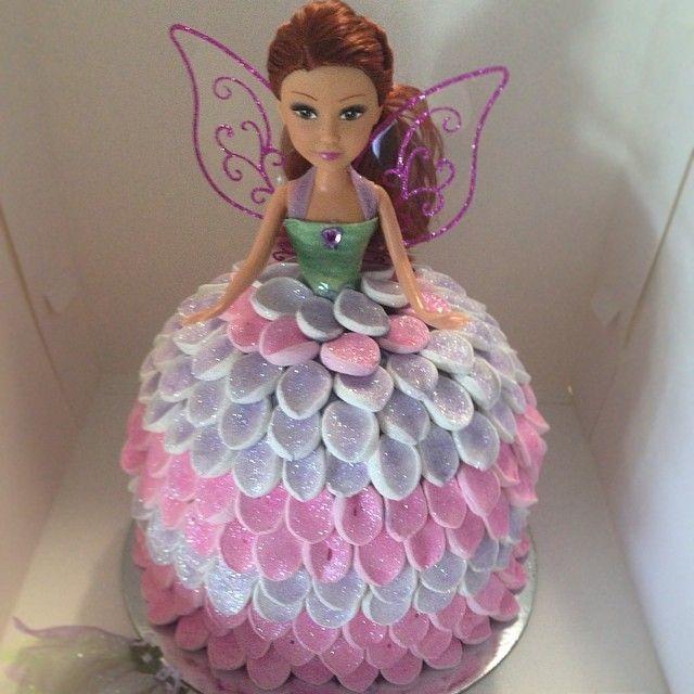 Fairy princess #cake for a special birthday #princess  #yummy #birthdaycake #fairy #dollyvardencake #dollcake #marshmallows #glitter #magical #buttercream #pink #purple #cakedecorator #cakedecorating #redhead #kidsbirthdaycake #customcake