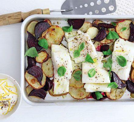 Pollack, beetroot & potato traybake with lemony crème fraîche recipe - Recipes - BBC Good Food