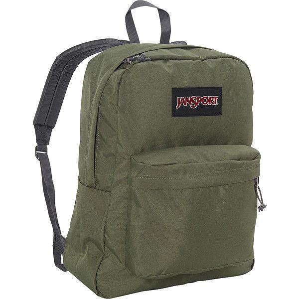 Jansport Superbreak Backpack ($36) ❤ liked on Polyvore featuring bags, backpacks, green, rucksack bag, padded bag, day pack backpack, handle bag and pocket backpack