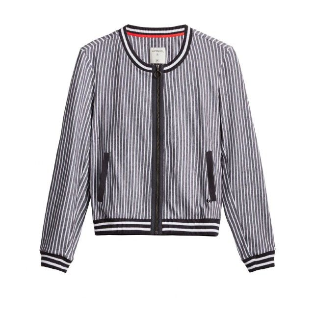 Sandwich Clothing Striped Bomber Jacket Grey
