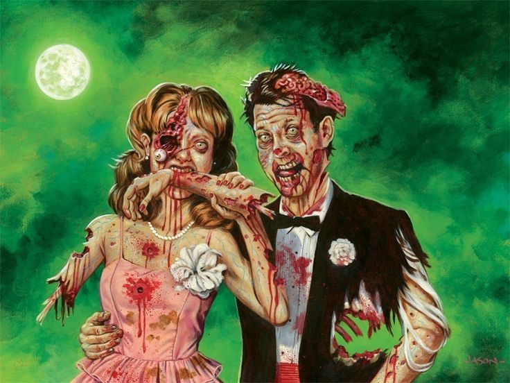 Zombie Prom 13 x 19 limited edition print by JasonEdmiston on Etsy.
