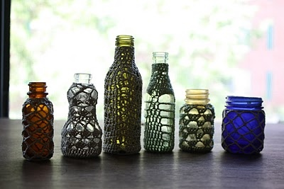 Crochet bottle covers. There isn't a tutorial but I would love to learn how to do this. A lot of people want bottles as centerpieces at weddings and I think this would be a perfect way to make it more of a unique thing.