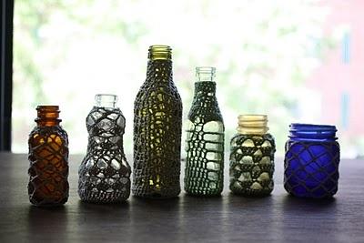 Crochet Bottles: Bottles Kaethe, Crotchet Bottles, Covered Bottles, Lace Bottles, Bottles Jars, Glass Bottles, Crocheted Bottles, Crochet Bottles
