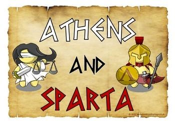A rare and unique set of 11 A4 printable posters showing the different attitudes between Athens and Sparta. Each poster shows an Athenian and Spartan character with speech bubbles of their statements about Greek life. Visit our TpT store for more information and for other classroom display resources by clicking on the provided links.